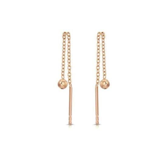 Rose Gold Bead Threader Earrings
