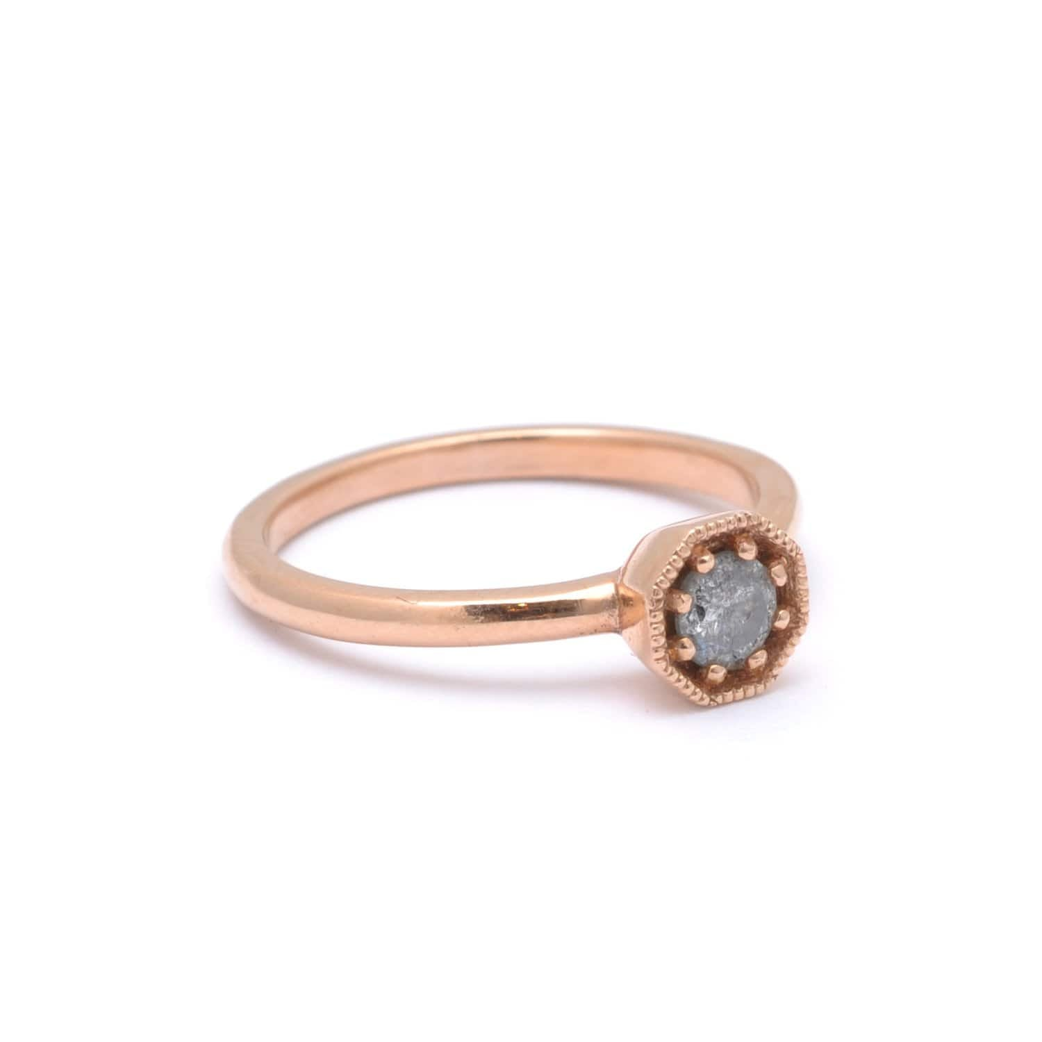 Salt and Pepper Grey Rose Gold Ring