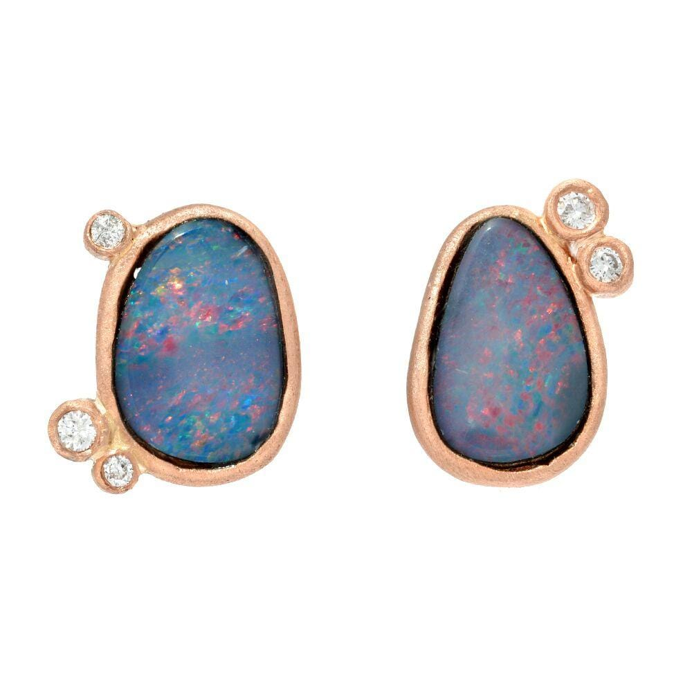 Diamond Opal Doublet Rose Gold Studs