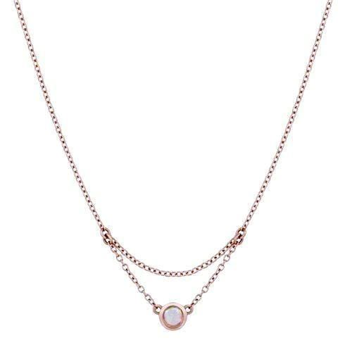 Opal Solitaire Rose Gold Necklace