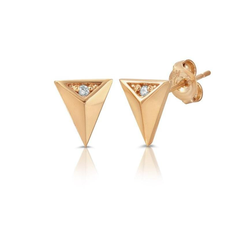 14k gold spike diamond studs