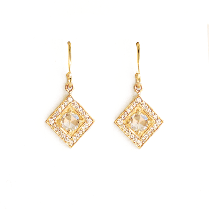 Rosecut Diamonds in a Square Halo Drop Earrings