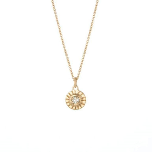 Diamond Solitaire Yellow Gold Necklace
