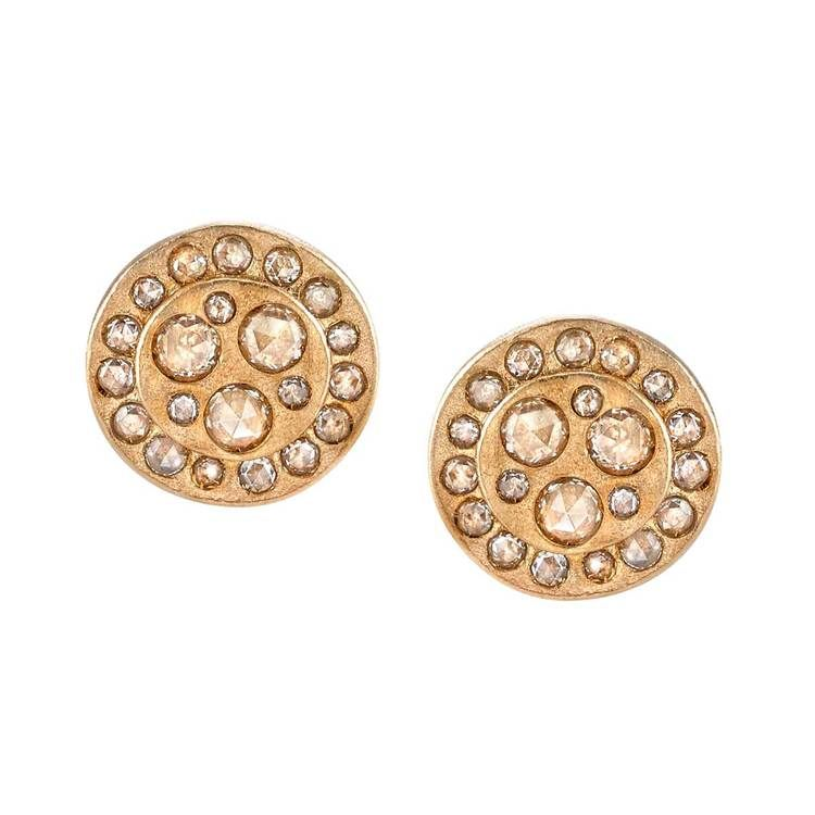 Night Sky Rosecut Diamond Circle Studs