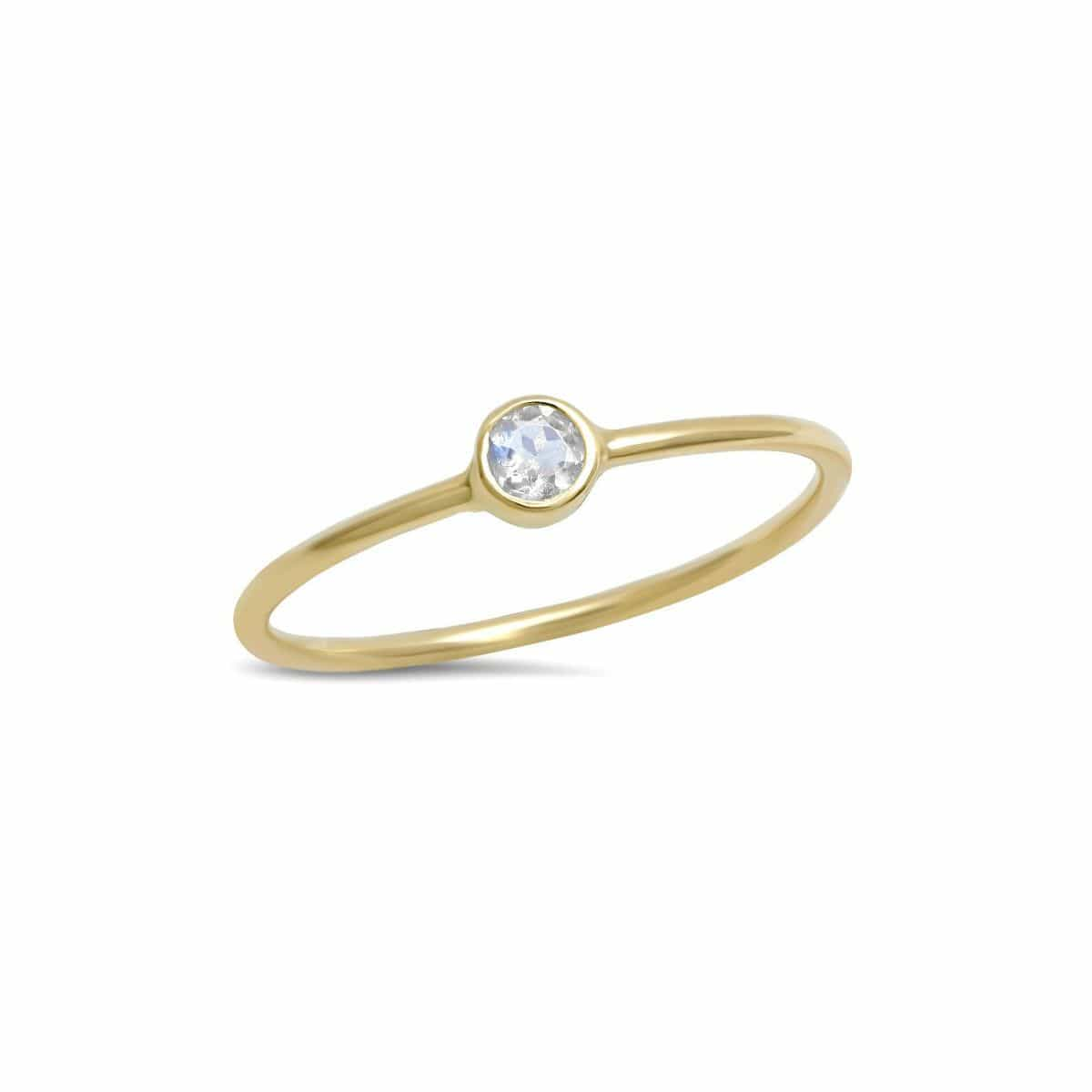 Small Round Moonstone Yellow Gold Ring
