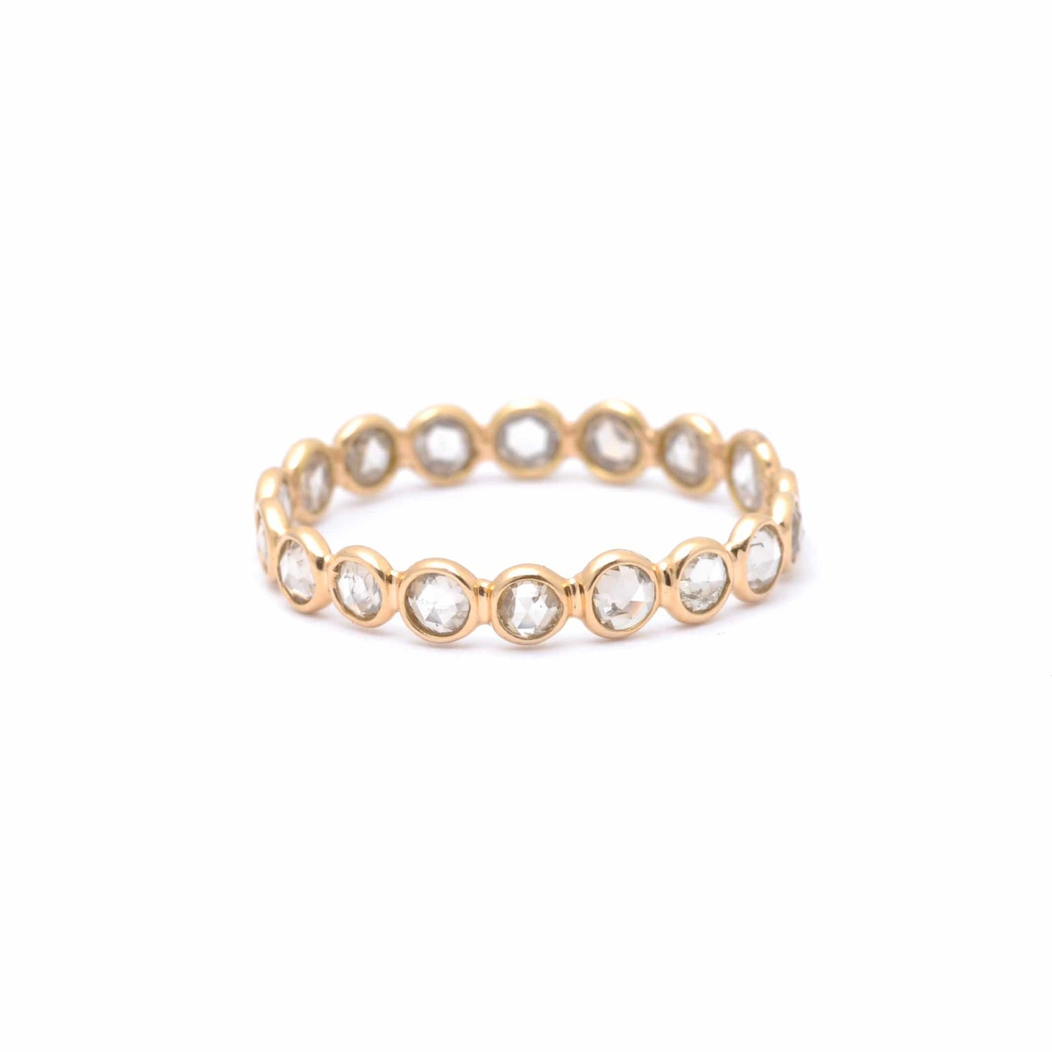 Round Rose Cut Diamond Eternity Band