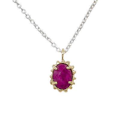 Ruby Solar Flare Yellow Gold Pendant on Silver Chain Morgan Patricia Designs