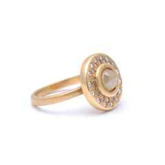 Rustic Diamond Matte Gold Medallion Statement Ring Santi Rom