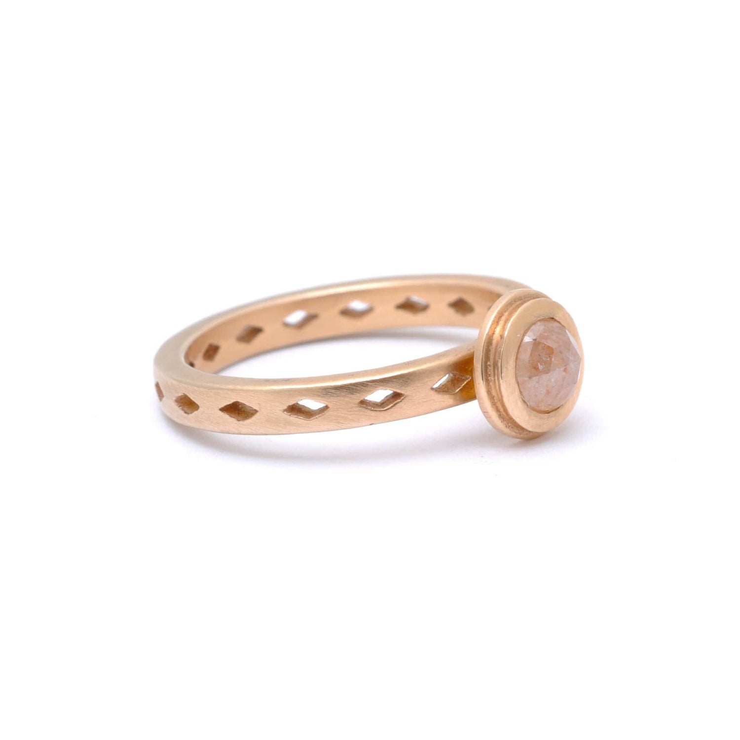 Rosecut Light Rustic Diamond Rose Gold Diamond Shape Cutout Ring