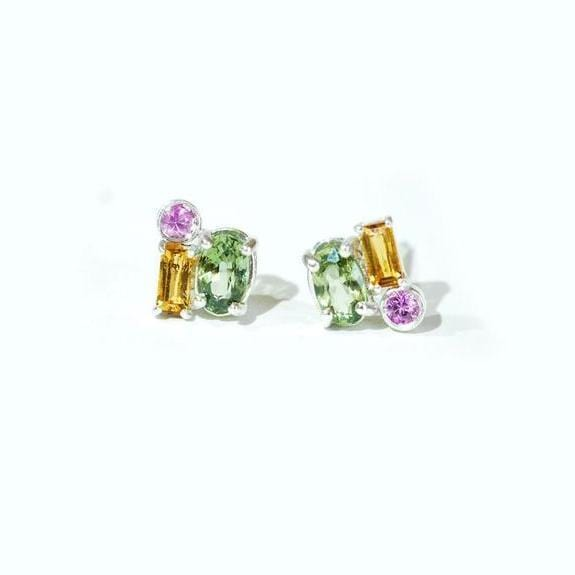 Oval Green Sapphire Round Pink Sapphire and Citrine Baguette Cluster Earrings Berlinger