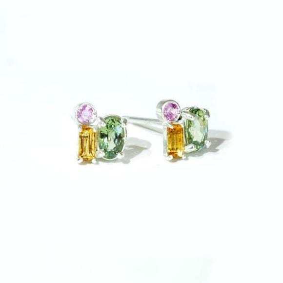 Oval Green Sapphire Round Pink Sapphire and Citrine Baguette Silver Studs Berlinger