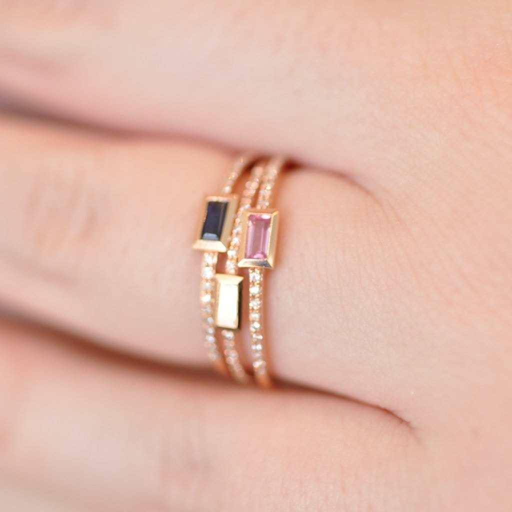Baguette Pink Sapphire with Micro Pave Diamond Ring – Curated Los ...