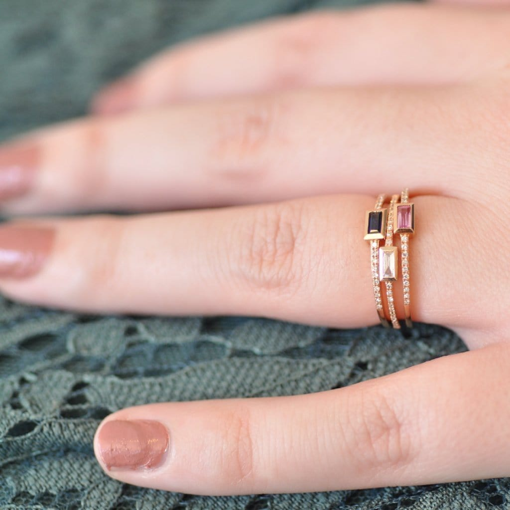 092ddaf90dec0 Baguette Pink Sapphire with Micro Pave Diamond Ring – Curated Los ...