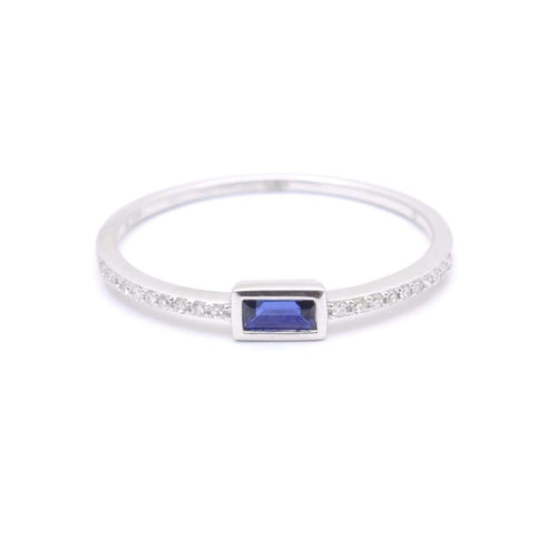 Blue Sapphire Baguette and Pave Ring