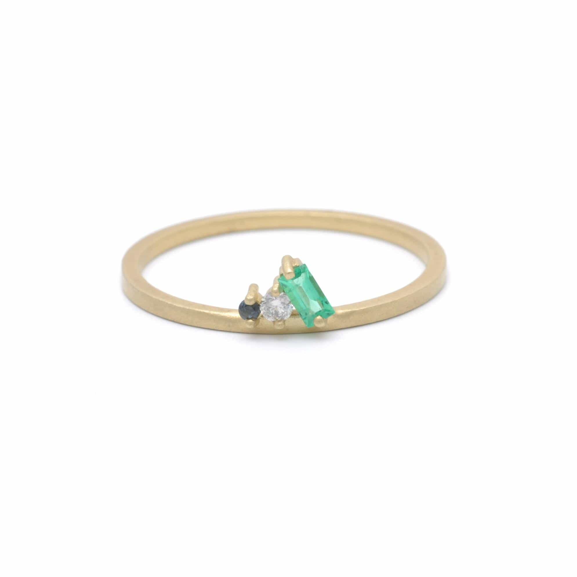 Emerald Diamond Sapphire Cluster Petite Yellow Gold Ring