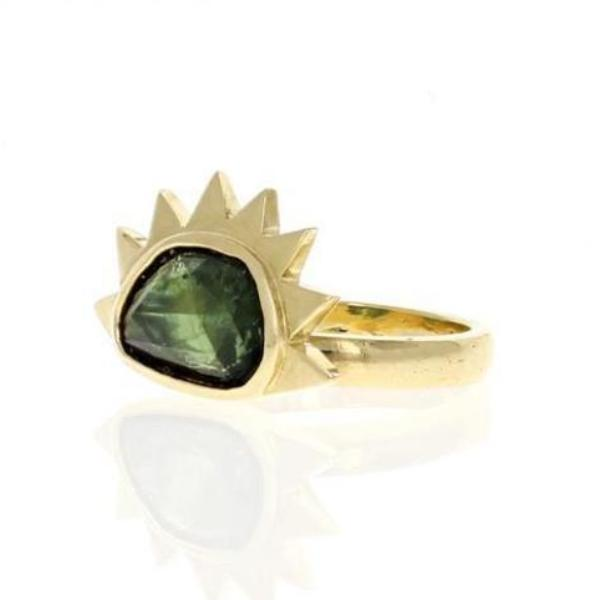 Green Sapphire Sunrise Cocktail Ring - Curated Los Angeles