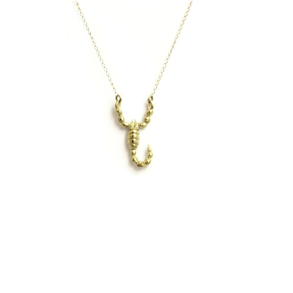 Small Scorpion Yellow Gold Necklace - Curated Los Angeles