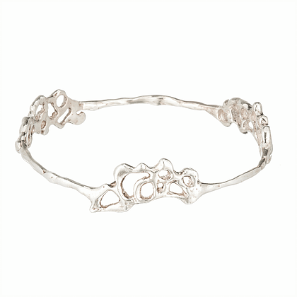 Silver Sea Foam Bangle Bracelet - Curated Los Angeles