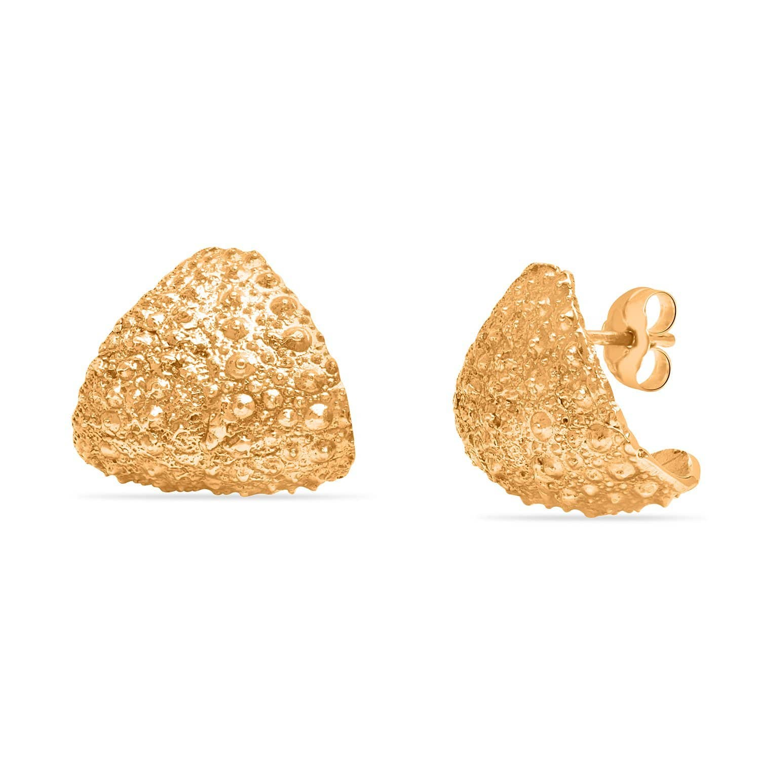 Sea Urchin Texture Gold Earrings Caitlin Nicole