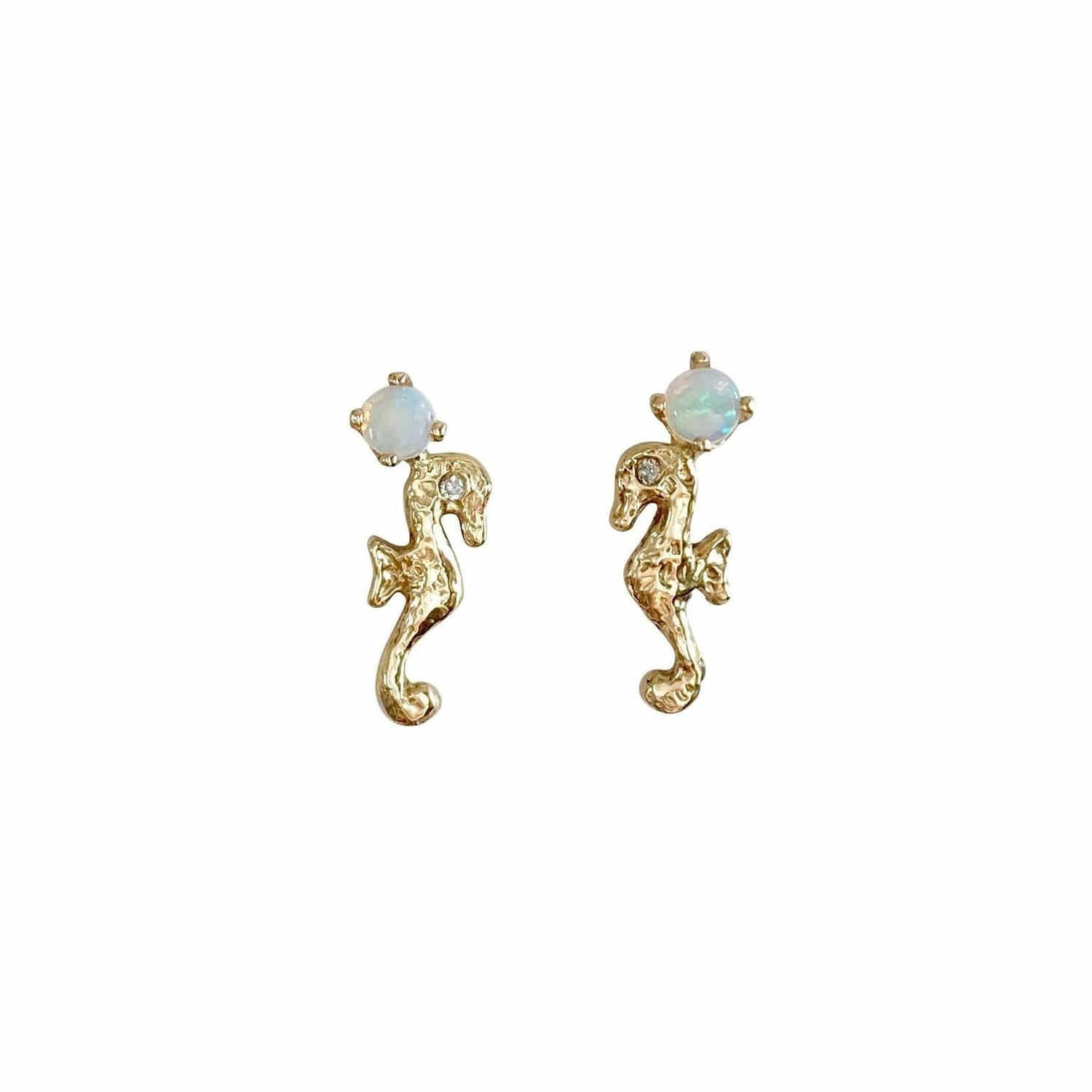 Opal and Diamond Yellow Gold Seahorse Studs