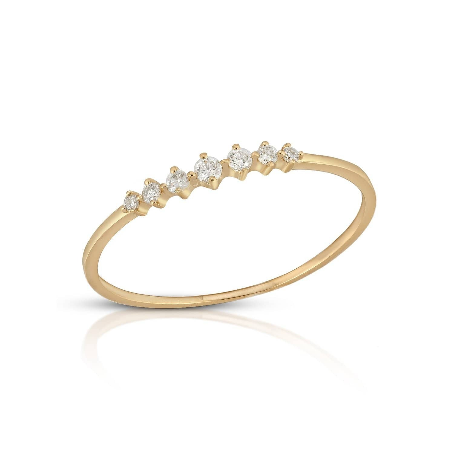 Seven Diamond Delicate Gold Stacking Ring