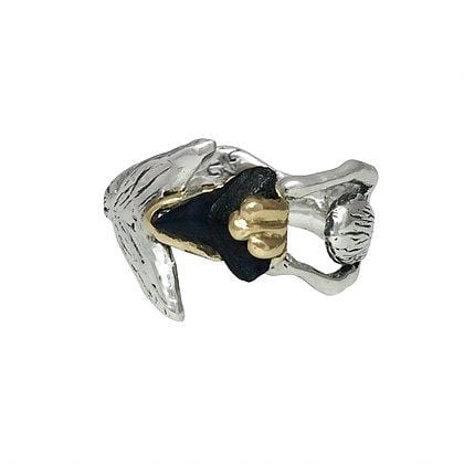Shark Tooth Fossil Mermaid Hug Two-tone Ring