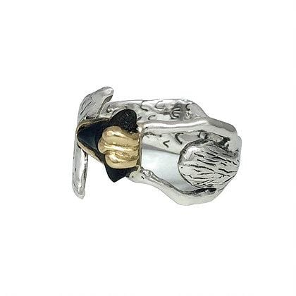 Shark Tooth Fossil Mermaid Hug Two-tone Ring - Curated Los Angeles