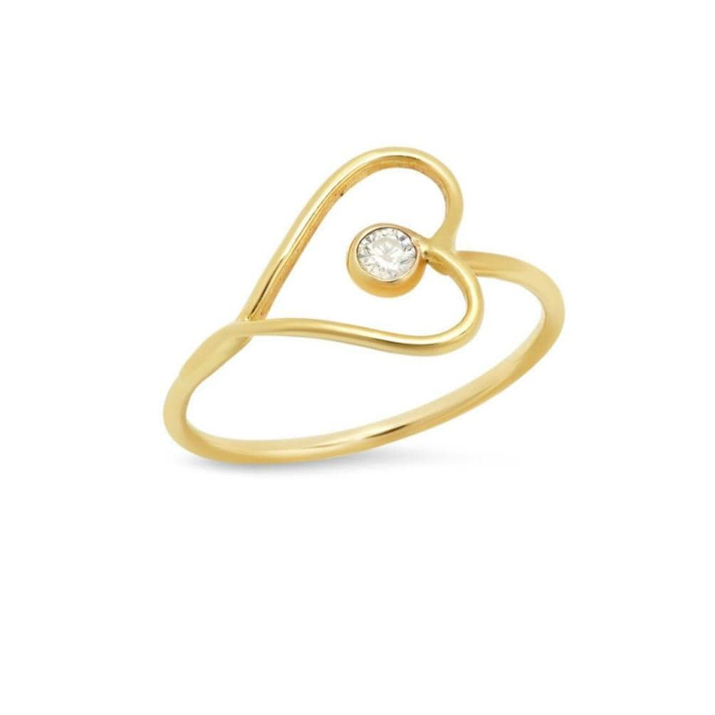 Diamond Sideways Gold Wire Heart Ring Caitlin Nicole