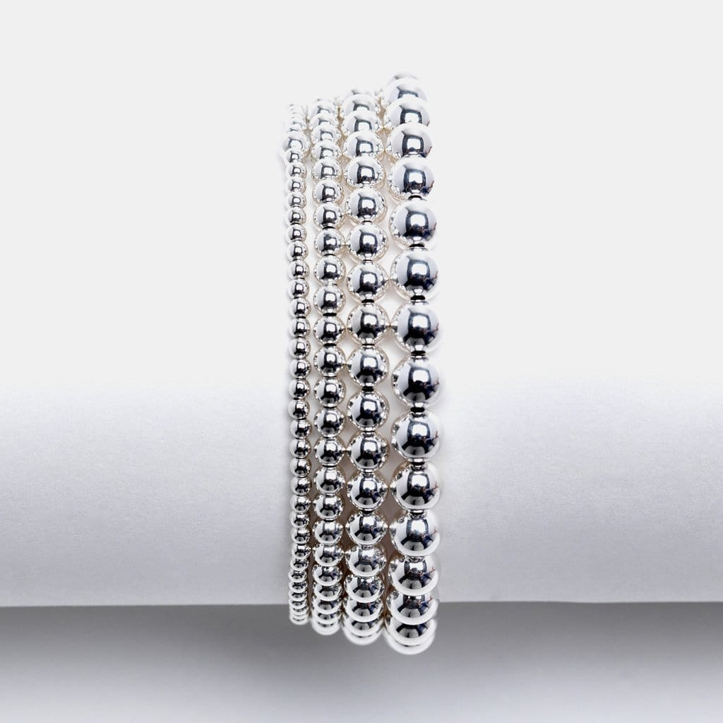 7mm Silver Round Bead Stretch Bracelet