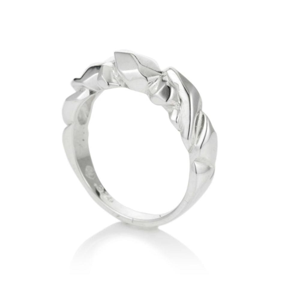 Large Faceted Silver Crystal Ring - Curated Los Angeles