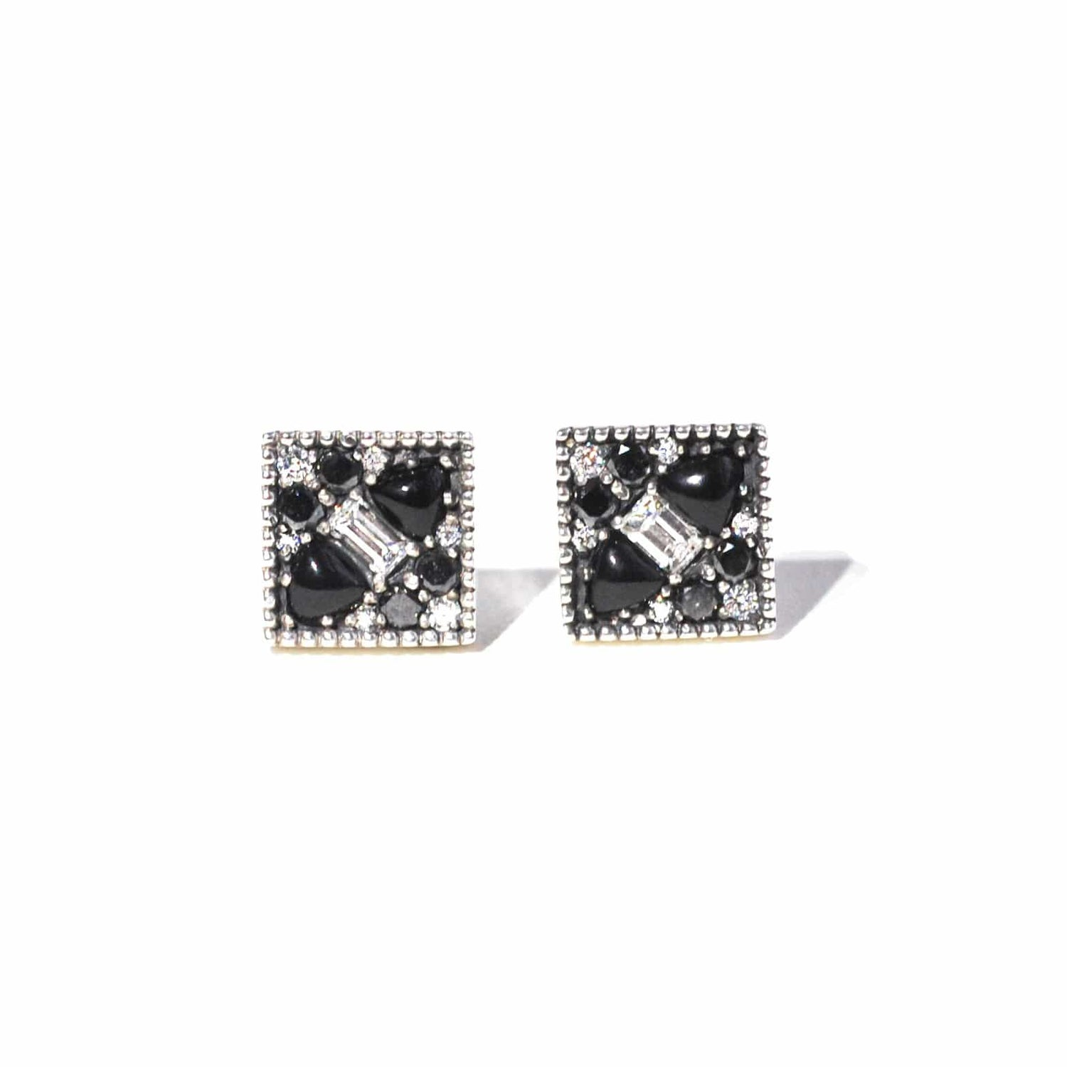 Black Diamond Onyx and Baguette Diamond Cluster Studs