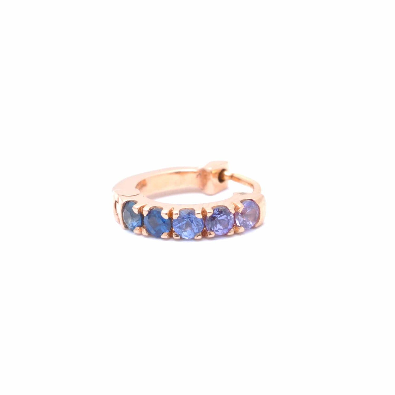 Purple and Blue Sapphire Rose Gold Huggie Earrings Single