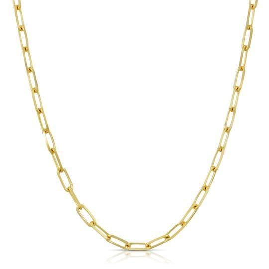 Paper Clip Link Yellow Gold Chain