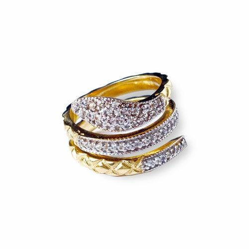 White Sapphire Two-tone Snake Ring - Curated Los Angeles