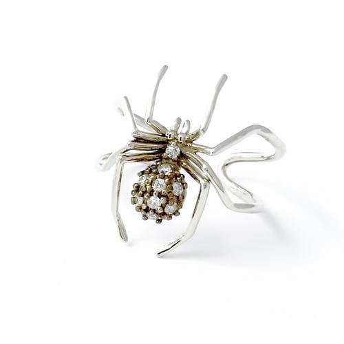 Small Diamond Spider White Gold Ring - Curated Los Angeles