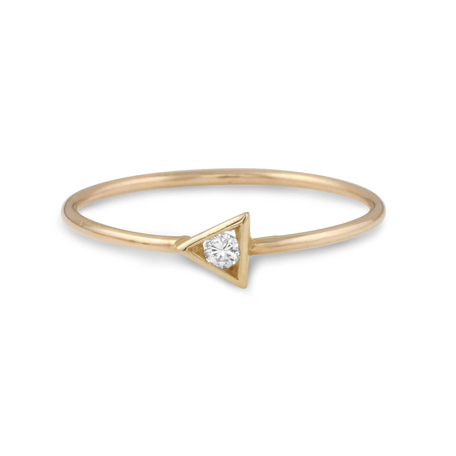 Small Diamond Triangle Yellow Gold Ring