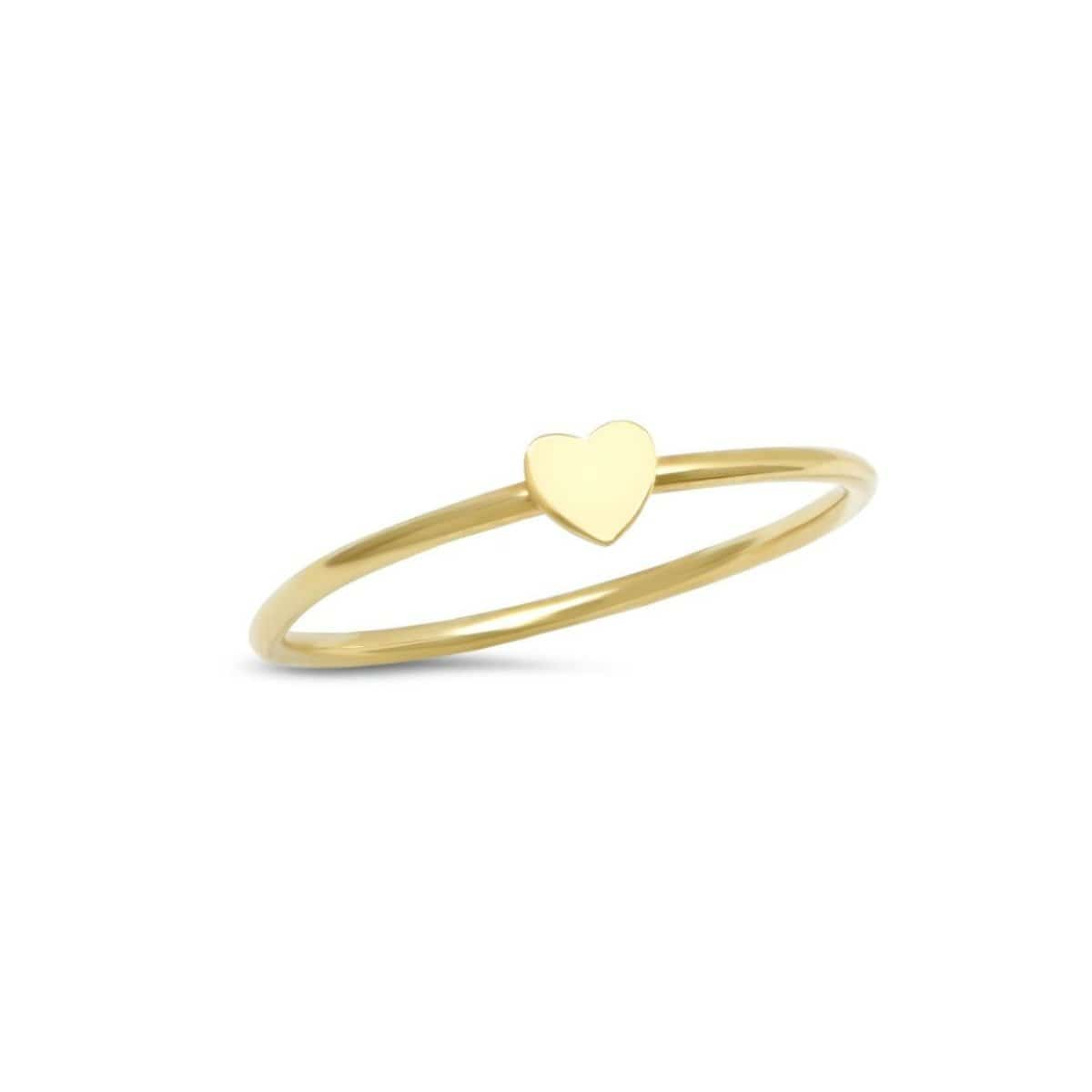Small Flat Heart Yellow Gold Ring