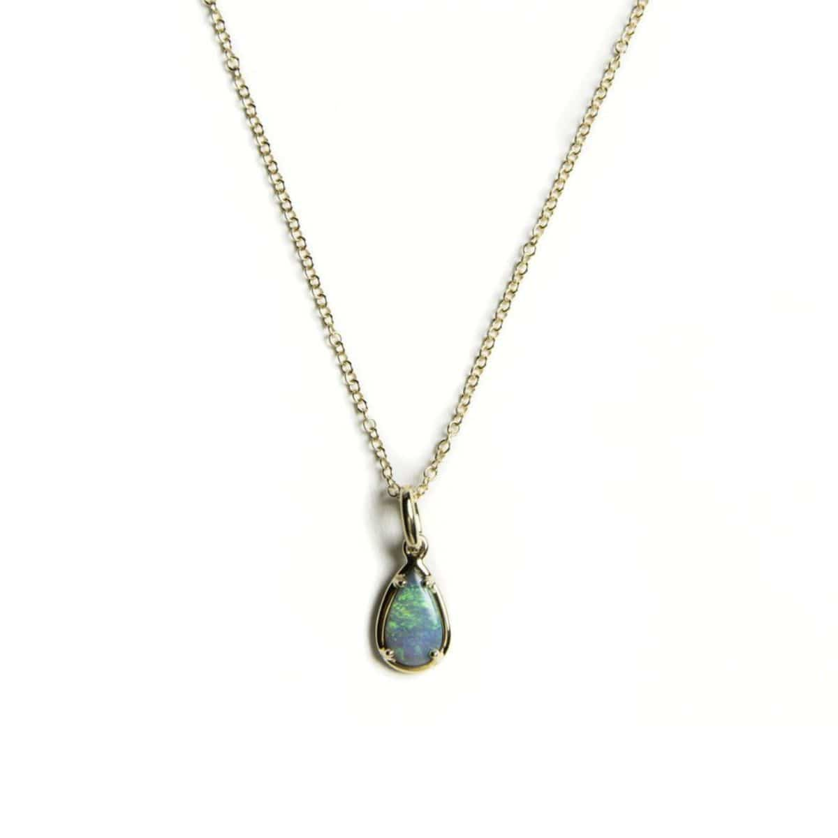 Blue Green Pear Shape Opal 18K Gold Necklace