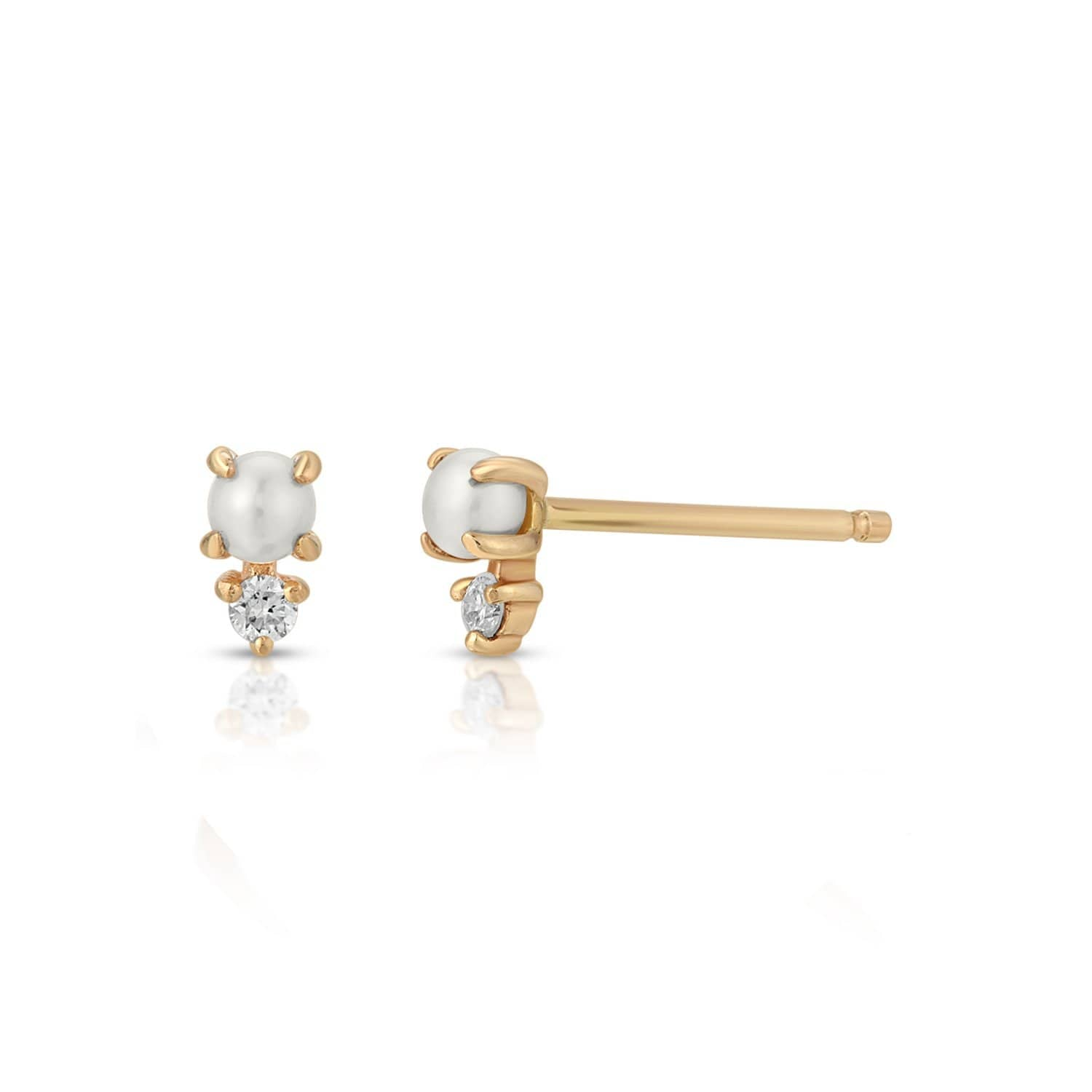 Small Diamond White Pearl Gold Studs Letreaime