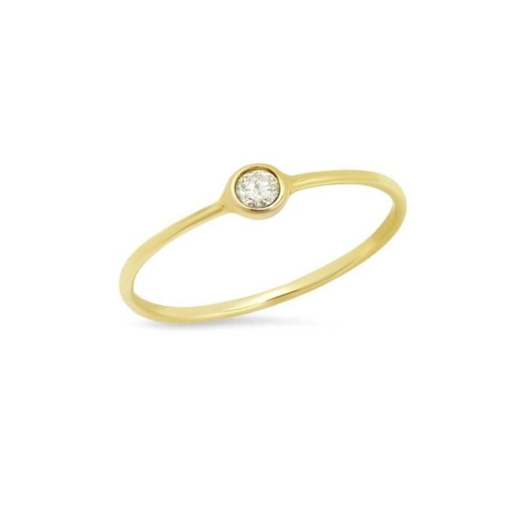 Small Round Diamond Solitaire Gold Bezel Ring Caitlin Nicole