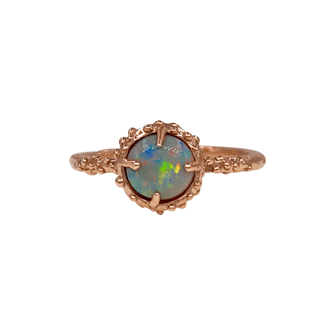 Round Opal Rose Gold Bubble Ring Morgan Patricia Designs