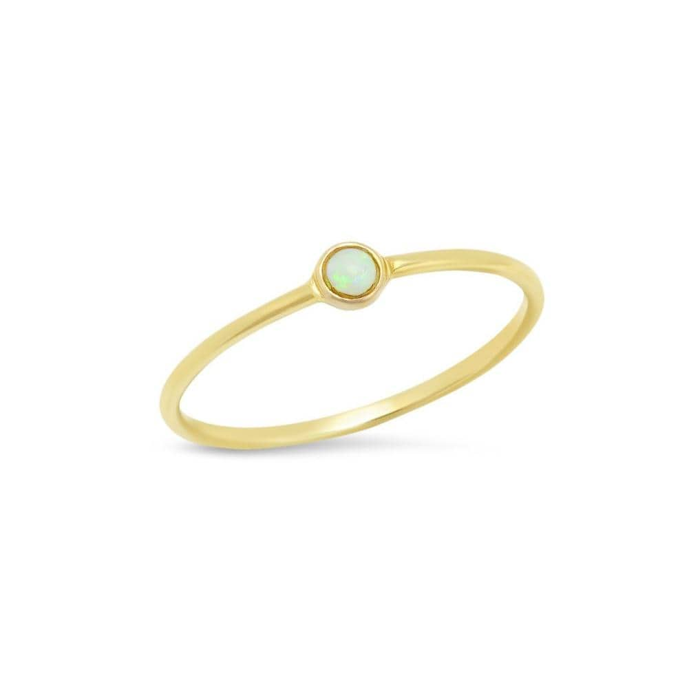 Round Small Opal Solitaire Yellow Gold Ring Curated Los Angeles