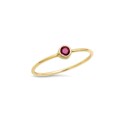 Ruby Solitaire Gold Bezel Ring