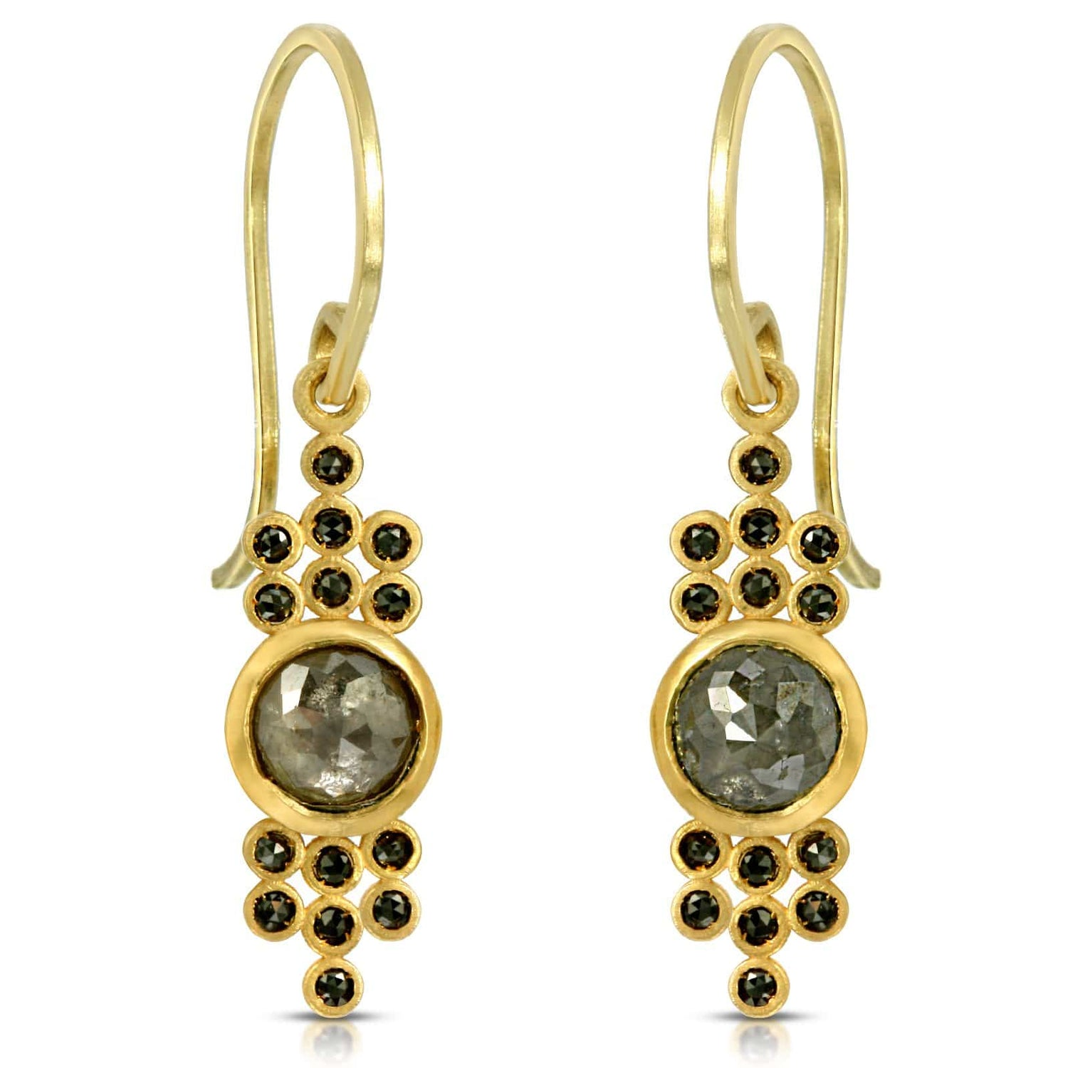 Smoky Diamond Yellow Gold Dangle Earrings