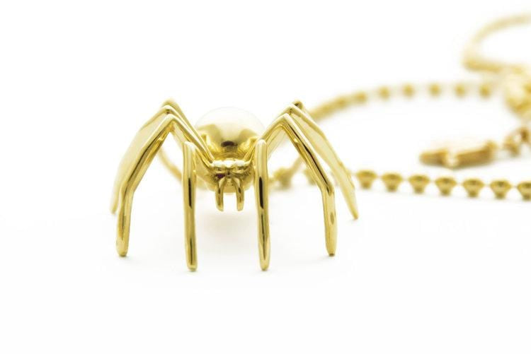 Large Yellow Gold Spider Necklace - Curated Los Angeles