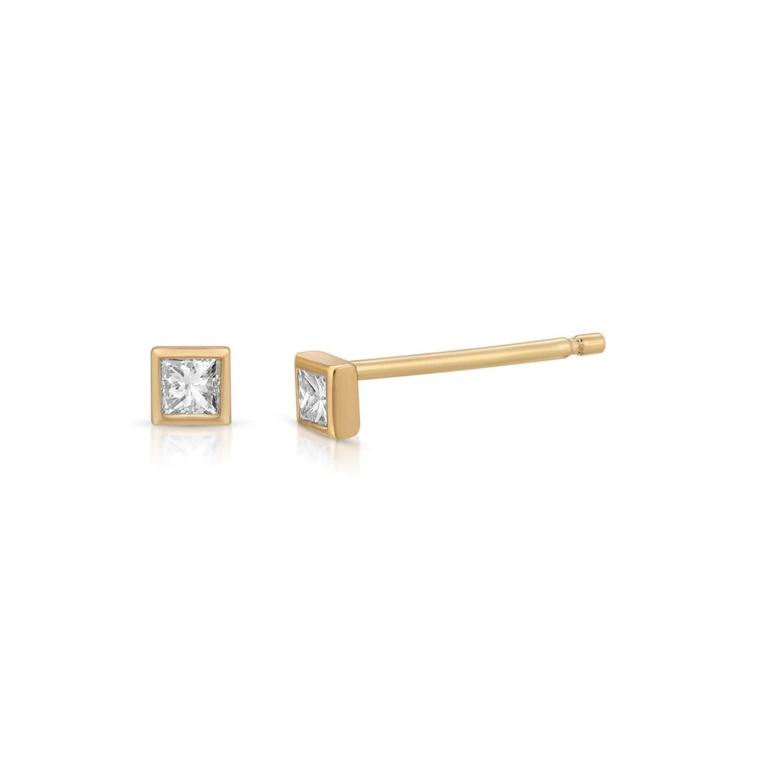Diamond Square Cut Yellow God Studs