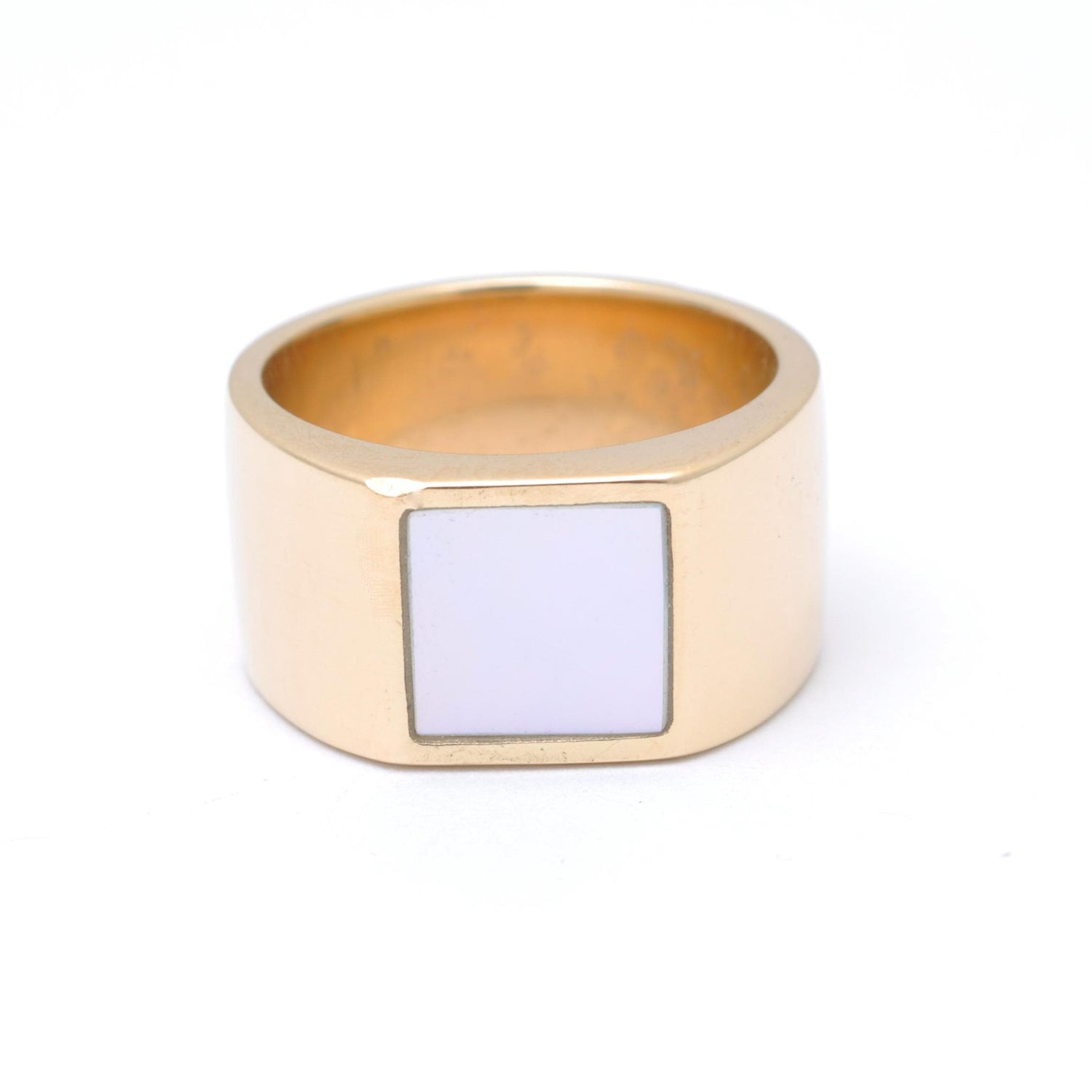 Mother of Pearl Square Inlay Gold Unisex Ring