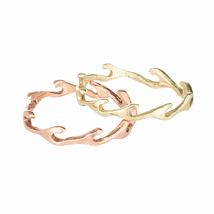 Ocean Waves Rose Gold Stacking Ring - Curated Los Angeles
