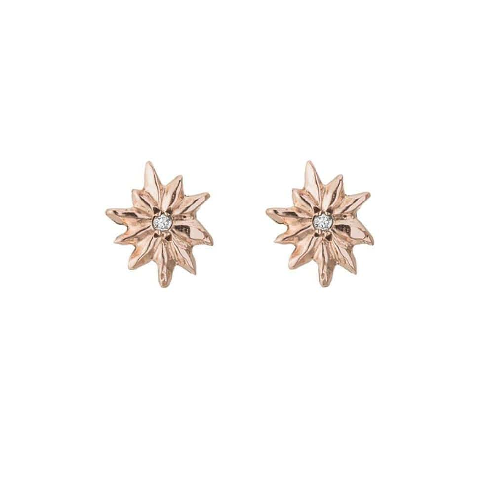 Sunburst Diamond Rose Gold Studs - Curated Los Angeles