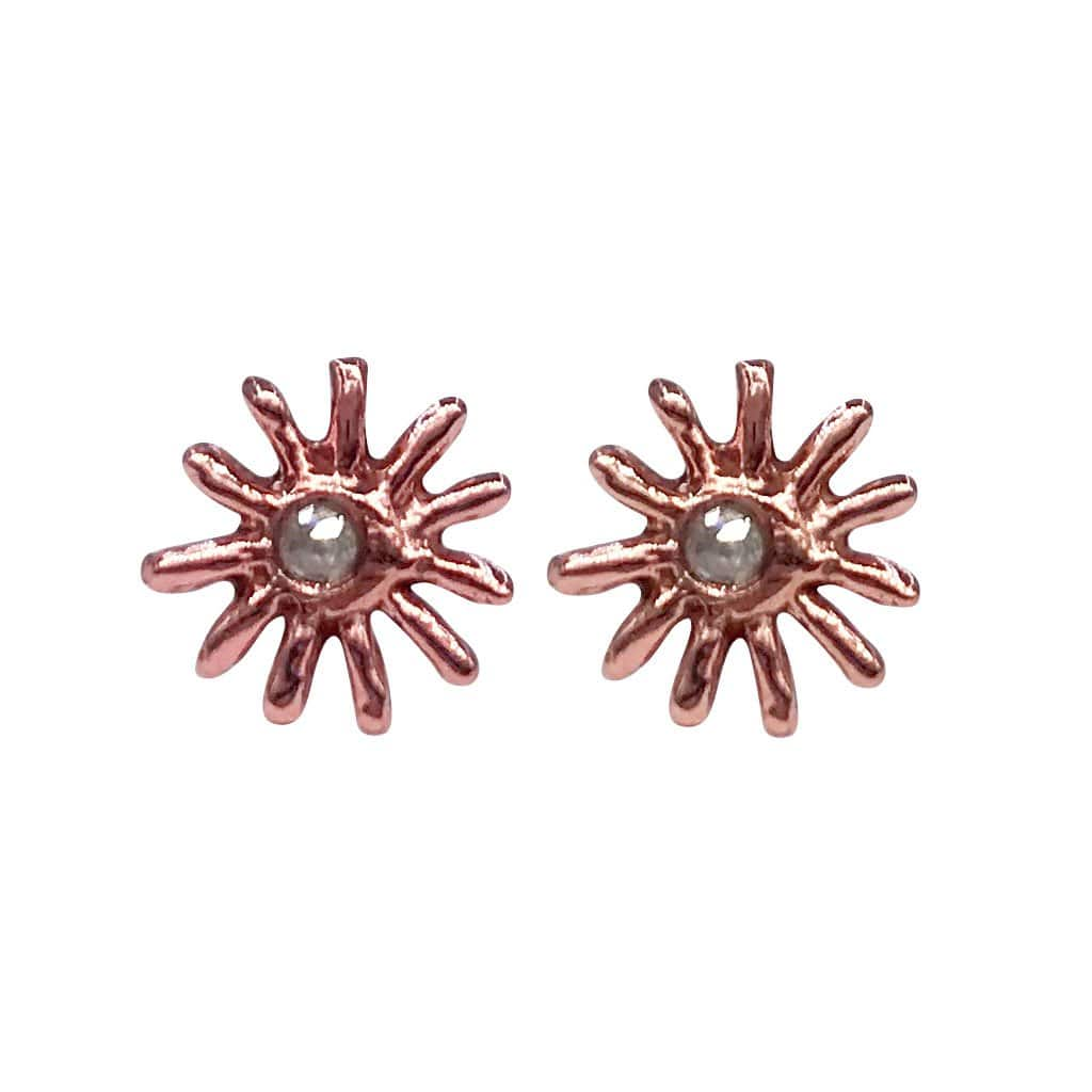 Diamond Sunbeam Rose Gold Studs Morgan Patricia Designs